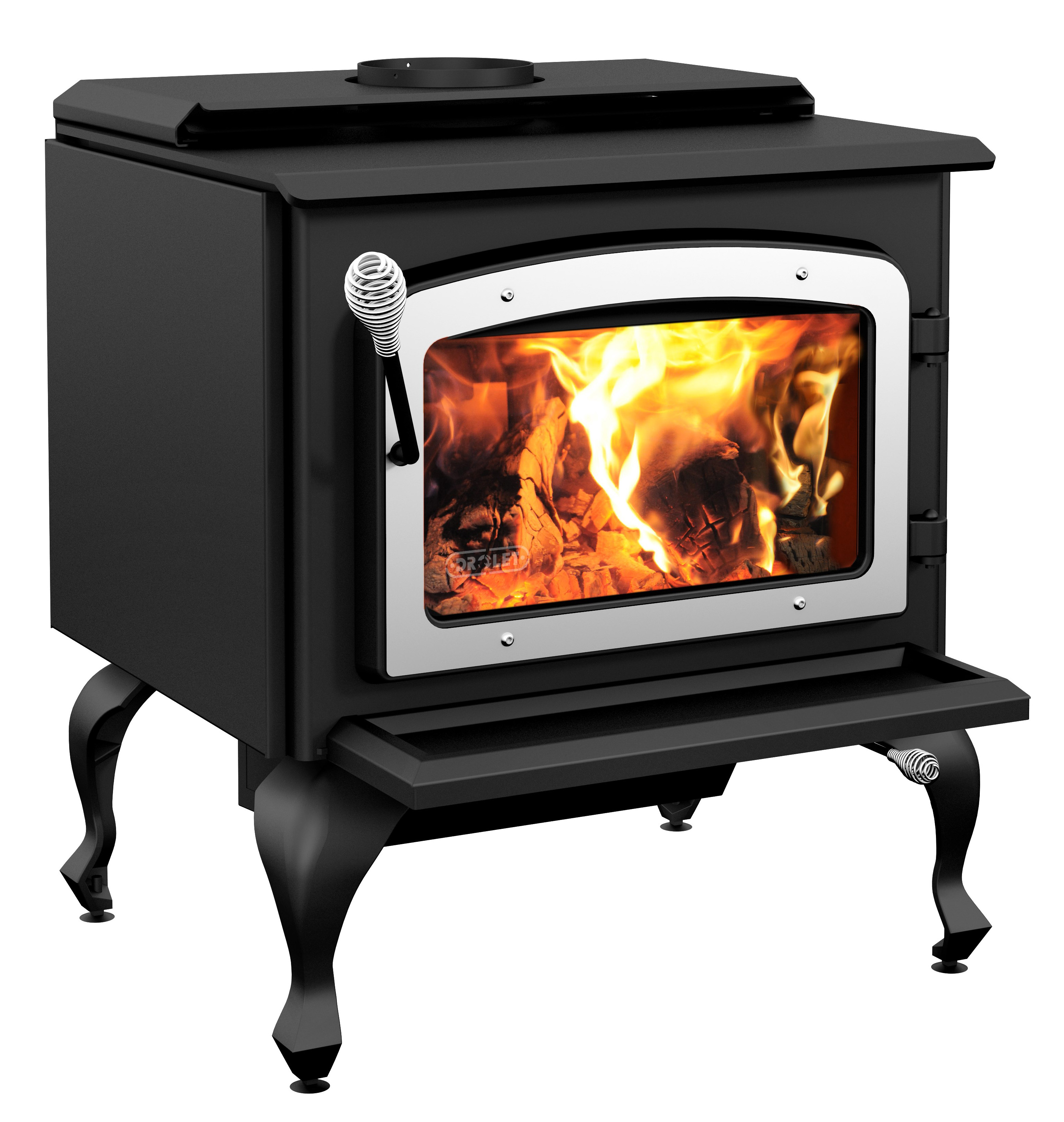 Wood Stove On Legs Model Escape 1800 - Black Legs & Brushed Nickel Door