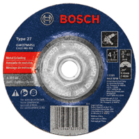Bosch GW27M451 Type 27 Depressed Center Grinding Wheel, 4-1/2 in Dia x 1/4 in T, A30T-BF Grit