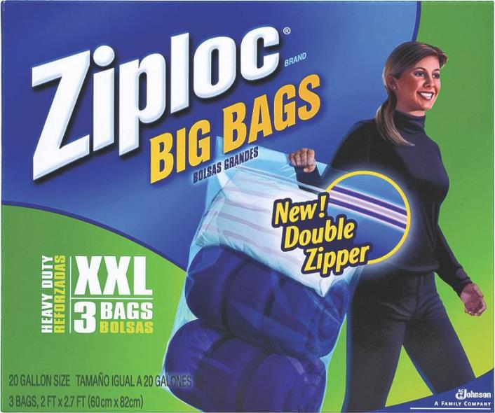 Ziploc 65645 Double Extra-Large Heavy Duty Big Bag, 24 in L x 32-1/2 in W, Plastic