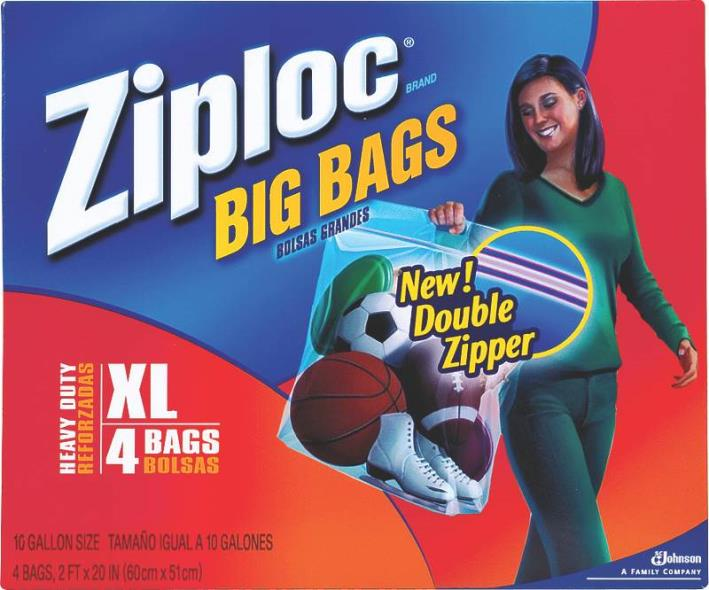 Ziploc 65644 Extra-Large Heavy Duty Big Bag, 24 in L x 20 in W, Plastic