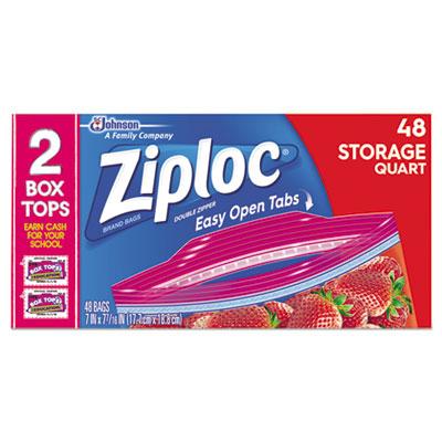 """Double Zipper Storage Bags, 1 qt, 1.75 mil, 9.63"""" x 8.5"""", Clear, 48/Box"""
