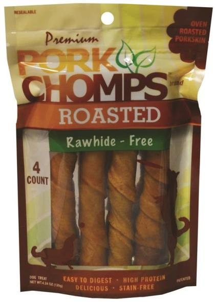Pork Chomps DT807 Large Twists, 4 Count, 4.24 oz Bag, Roasted