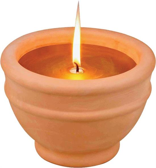 MintCraft C57655-3L Citronella Candle With Terracotta Bowl, 6 in Dia 4-1/4 in H, Gold