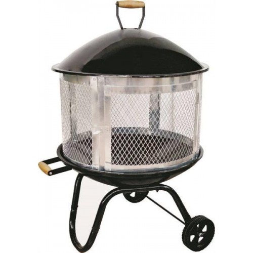Homebasix KY181 Outdoor Firepit, Powder Coated Steel Frame W/Galvanized Door 28In