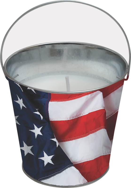 Worldwide Sourcing Y1997 Stars and Stripes Design Candle, 5 in Dia, Bucket With Handle, Citronella, Paraffin Wax