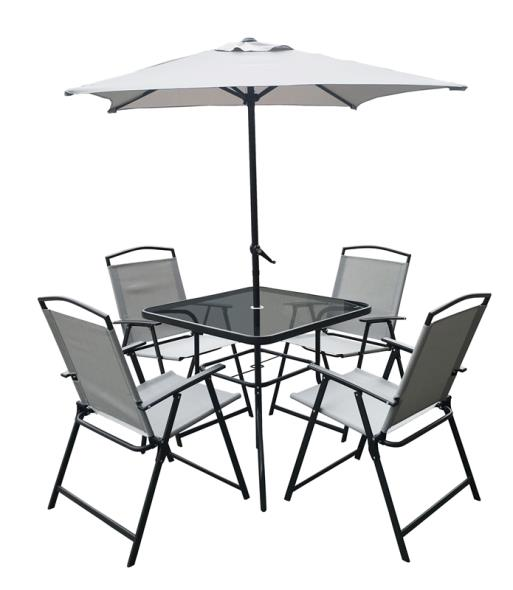 PATIO SET OAKVILLE 6PC BLK/SLV
