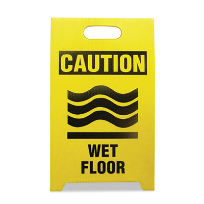 Economy Floor Sign, 12 x 14 x 20, Yellow/Black, 2/Pack