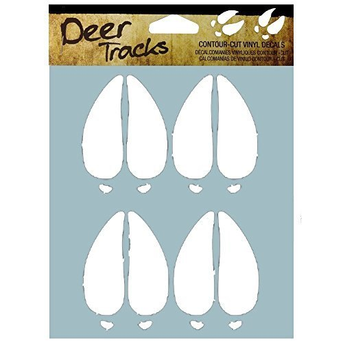 DECAL DEER TRACKS WHITE 6X8IN
