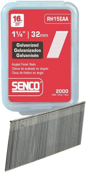 Senco RH19EAA Collated Finish Nail, 16 ga x 1-3/4 in, 20 deg, Steel