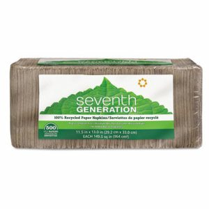 100% Recycled Napkins, 1-Ply, 12 x 12, Unbleached, 500/Pack, 12 Packs/Carton