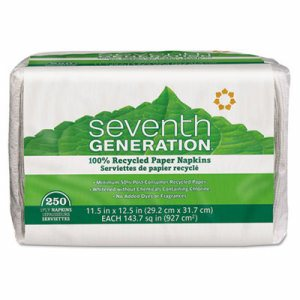100% Recycled Napkins, 1-Ply, 11 1/2 x 12 1/2, White, 250/Pack