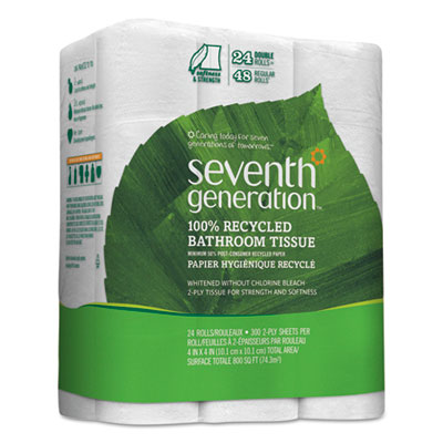 100% Recycled Bathroom Tissue, Two-Ply, White, 500 Sheets/Roll, 24/PK, 2 PK/CT