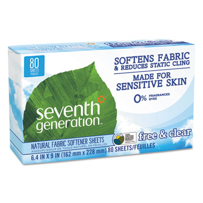 Natural Fabric Softener Sheets, Unscented, 80/Box