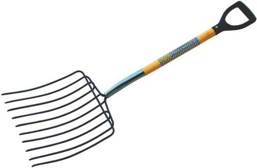 SEYMOUR ENSILAGE FORK WITH 10 TINES, 15 IN. HEAD AND 30 IN. WOOD D GRIP HANDLE
