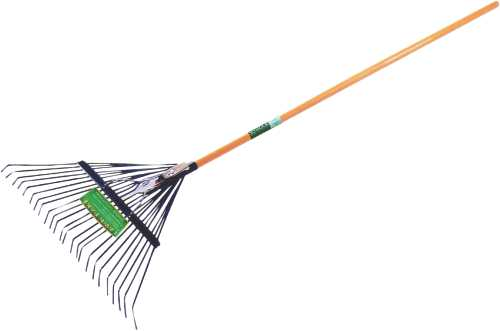 "SEYMOUR STEEL LEAF RAKE WITH 24"" HEAD, 24 TINE AND 54"" WOOD HANDLE"