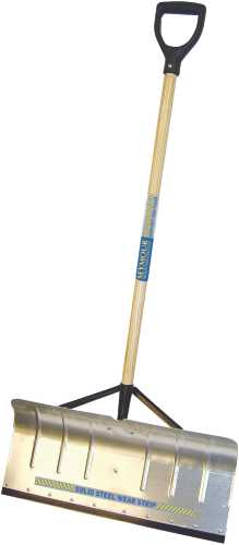 SEYMOUR ALUMINUM SNOW PUSHER 24 IN. WITH WEAR STRIP AND BRACES, 42 IN. WOOD HANDLE