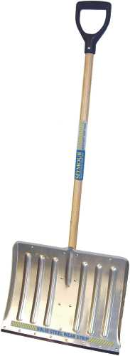 SEYMOUR ALUMINUM SNOW SHOVEL 18 IN. WITH WEAR STRIP AND 42 IN. WOOD HANDLE