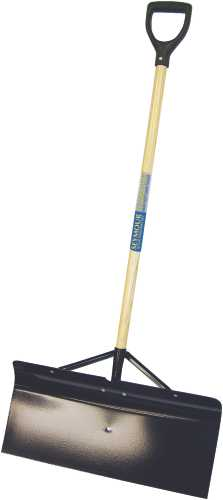 SEYMOUR STEEL SNOW PUSHER WITH 24 IN. HEAD AND BRACES, 42 IN. WOOD HANDLE