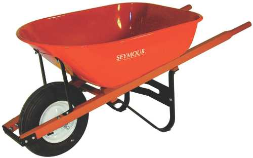 SEYMOUR WHEELBARROW, 6 CU. FT. WITH STEEL TRAY