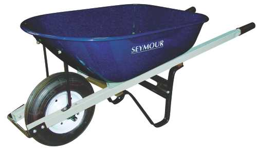 SEYMOUR HEAVY-DUTY WHEELBARROW, 6 CU. FT. WITH STEEL TRAY