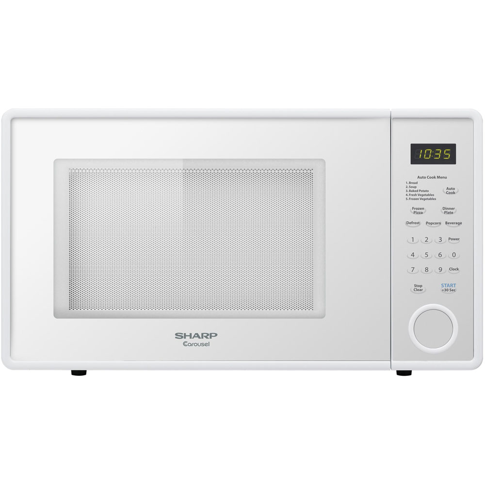 "1.1 cu.ft.,1000w Carousel Countertop Microwave Oven, 11-1/4"" Glass Turntable, Smooth White"