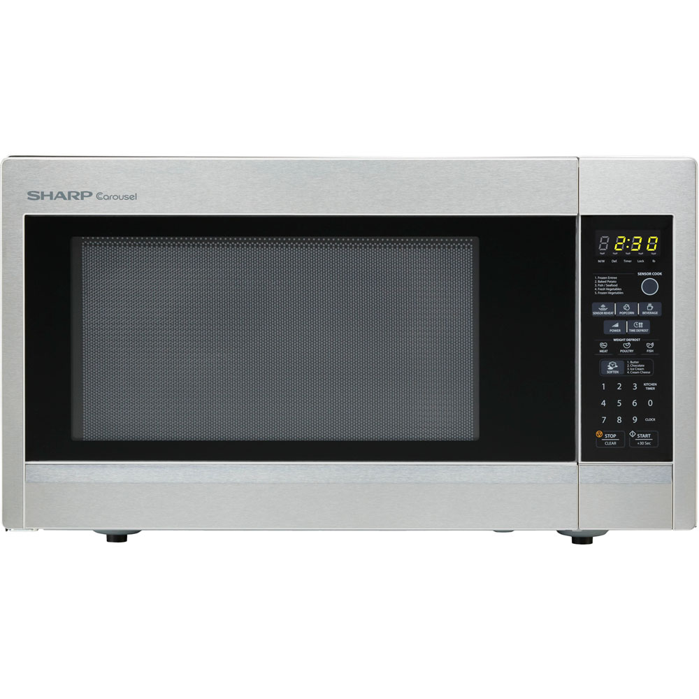 "1.8 cu. ft., 1100w Carousel Countertop Microwave Oven, 15"" Glass Turntable, Brushed Stainless Steel"