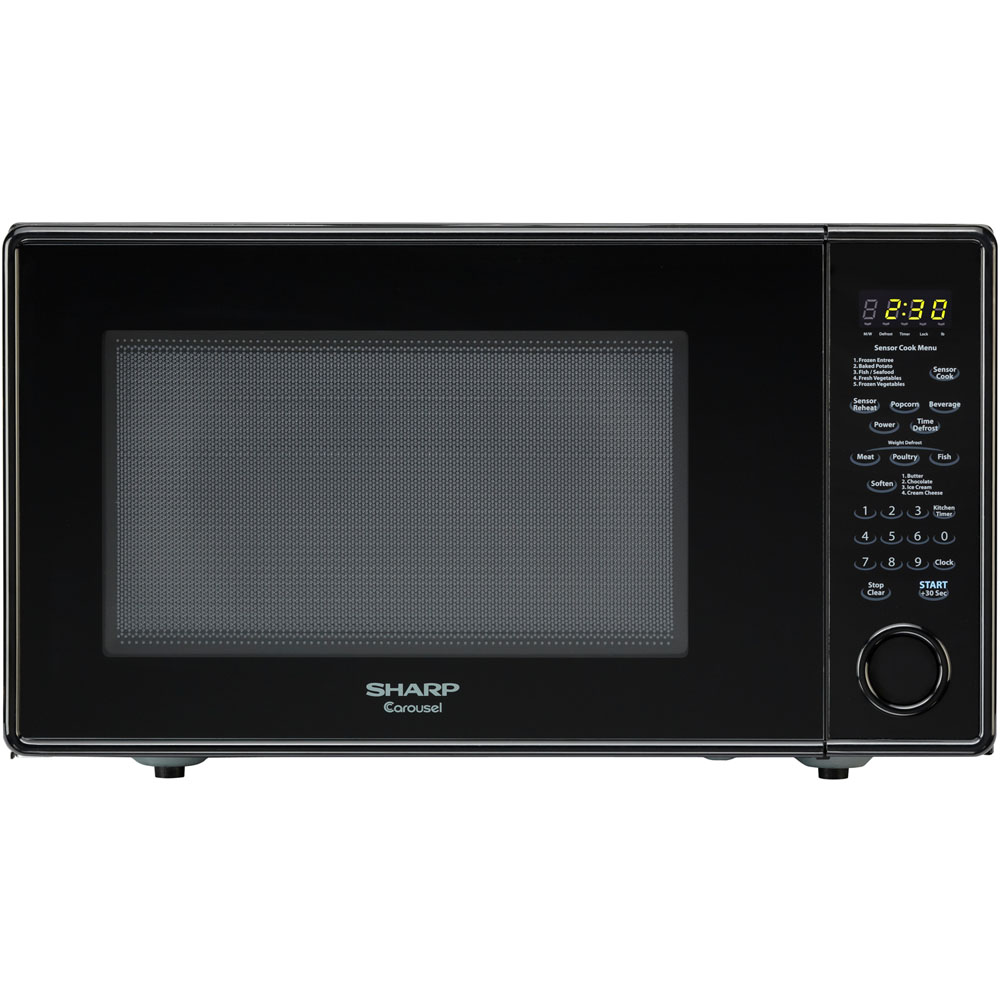 "1.8 cu. ft., 1100w Carousel Countertop Microwave Oven, 15"" Glass Turntable, Glossy Black"