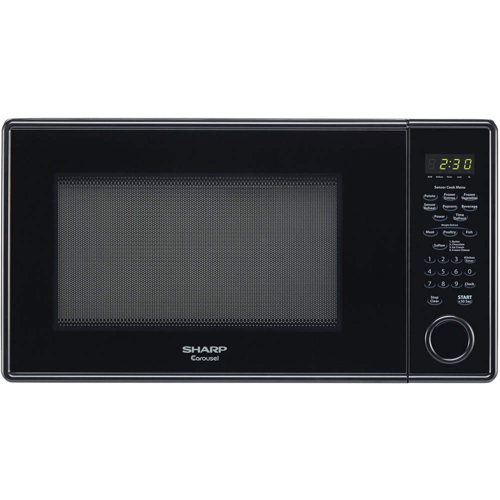 """1.3 cu. ft., 1000w Carousel Countertop Microwave Oven, 12-3/4"""" Glass Turntable, Glossy Black"""