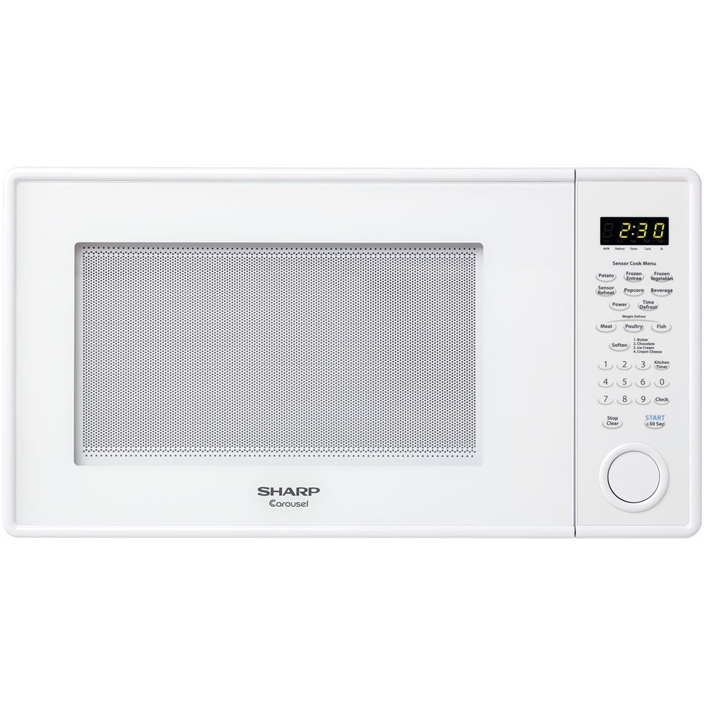 """1.3 cu. ft., 1000w Carousel Countertop Microwave Oven, 12-3/4"""" Glass Turntable, Glossy White"""