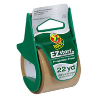 Duck EZ Start Packaging Tape With Dispenser, 1.88 in W x 22.2 yd L x 2.6 mil T, Tan