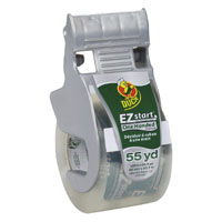 Duck EZ Start Packaging Tape With One Handed Dispenser, 1.88 in W x 55 yd L x 2.6 mil T, Clear