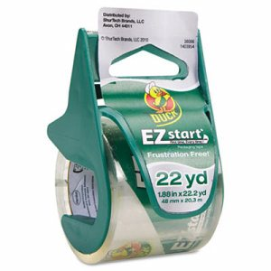 "EZ Start Carton Sealing Tape/Dispenser, 1.88"" x 22.2yds, 1 1/2"" Core"