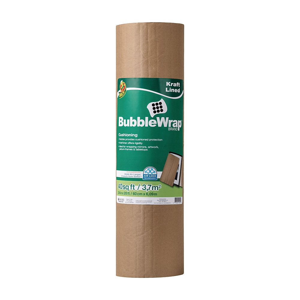 "Kraft Lined Bubble Wrap Cushioning, 0.1"" Thick, 24"" x 20 ft"