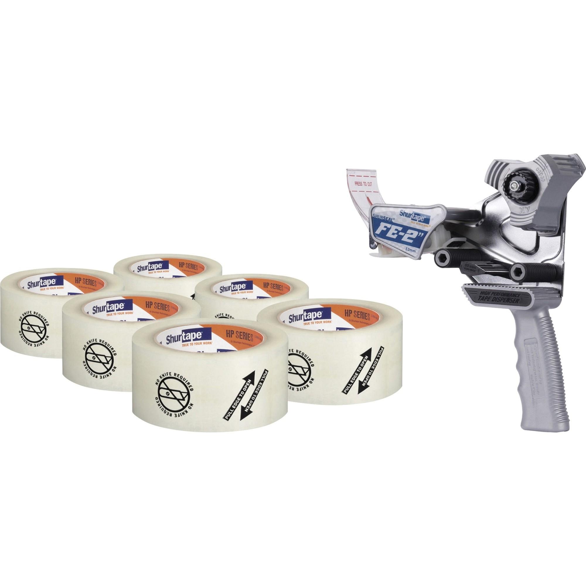 "Folded Edge Tape Dispenser with Folded Edge Tape, 3"" Core, Plus 6 Rolls of 2.08"" x 110 yds Tape, Plastic/Steel, Gray"
