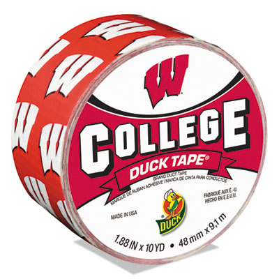 """College DuckTape, University of Wisconsin Badgers, 3"""" Core, 1.88"""" x 10 yds, Cardinal/White"""