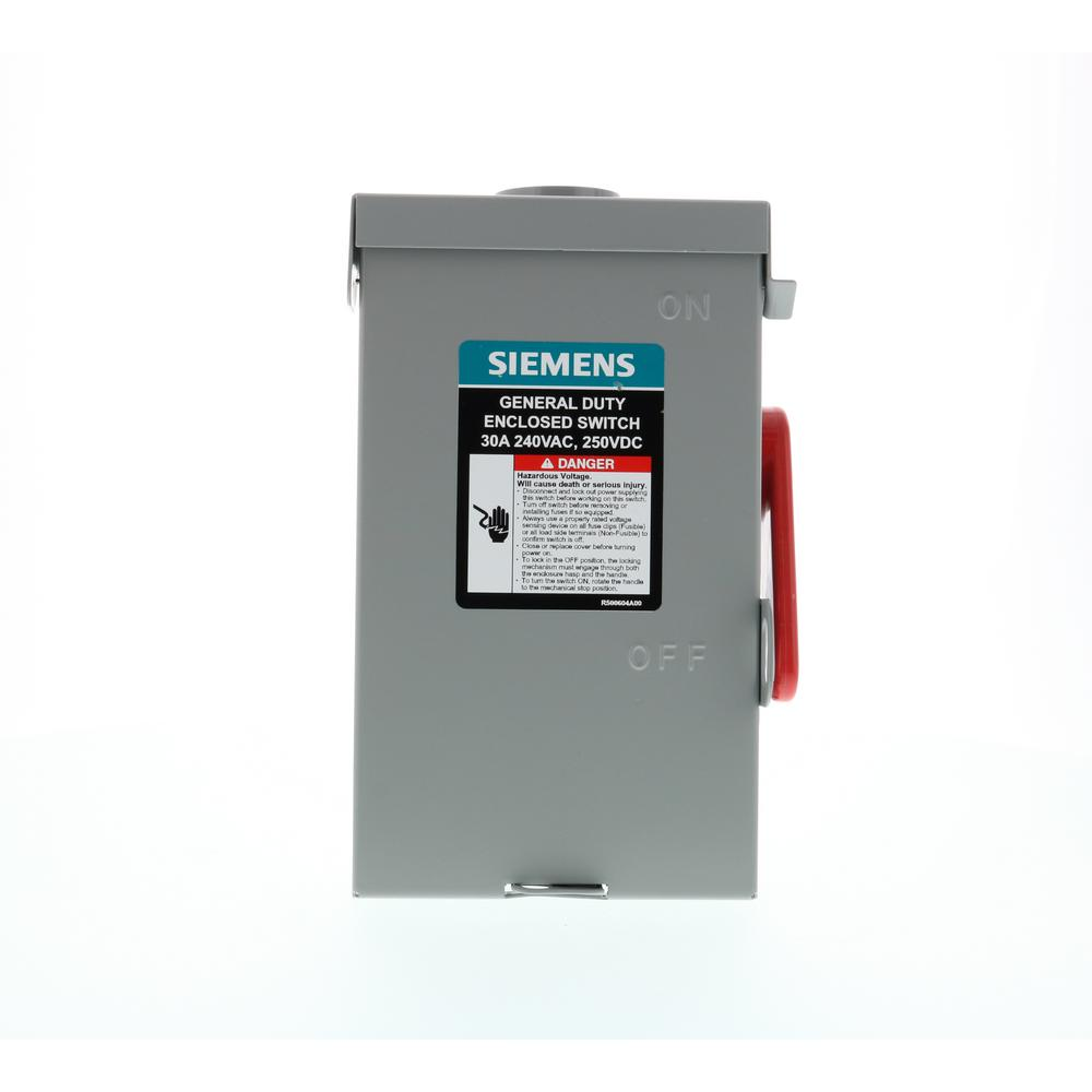 Siemens GHN321NU Safety Switch, 240 V, 30 A, 2 Pole, 3 Wires, Groundable Neutral Insulation, NEMA 1