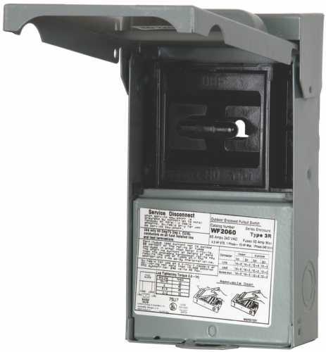 Siemens WF2060 Fused AC Disconnect, 120/240 VAC, 60 A, 2 P, Steel
