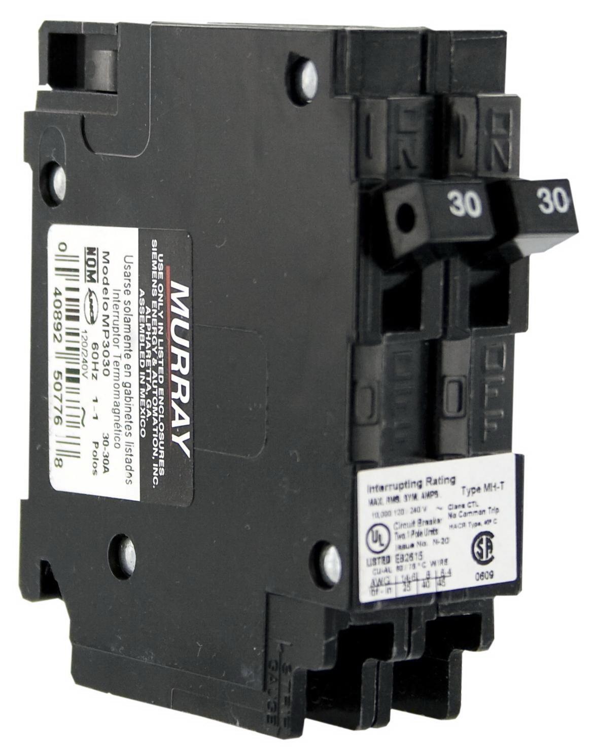 Murray MP3030 Duplex Type MH-T Circuit Breaker, 120 VAC, 30 A, 2 P, 10 kA