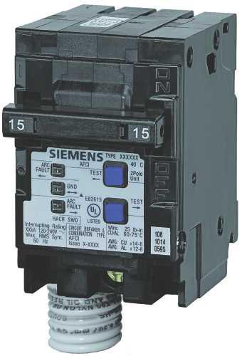 SIEMENS Q215AFC COMBINATION TYPE AFCI, 15 AMP, 2 POLE, 120 VOLT