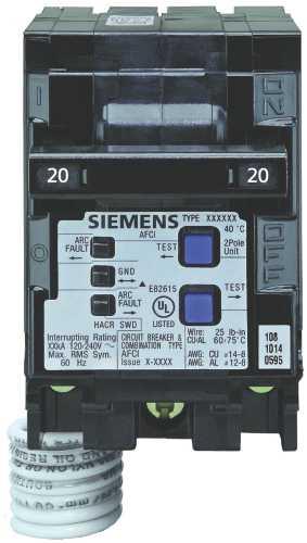 SIEMENS Q220AFC COMBINATION TYPE AFCI, 20 AMP, 2 POLE, 120 VOLT