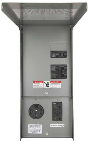 SIEMENS POWER OUTLET PANEL WITH RECEPTACLES, UNMETERED, SURFACE MOUNT, 125 AMP MAIN LUG, 14-50R, 5-20R2GFI