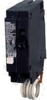 MURRAY MP115GFA GFCI CIRCUIT BREAKER, PLUG IN, SELF TESTING, 15 AMP, 1-POLE, 120 VOLT