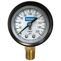 Simmons 1306 Pressure Gauge, 0 - 200 lb, 2 in Dial, 1/4 in MPT, Steel