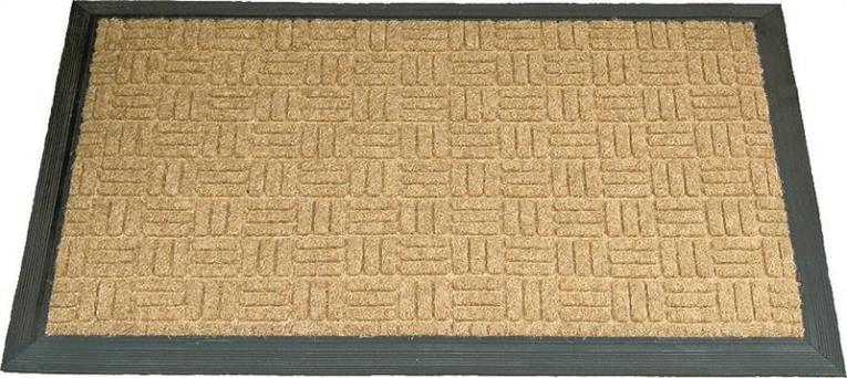 Homebasix 06ABSHE-09-3L18 Door Mat, 30 in L x 18 in W, Coconut Fiber, Green Trim