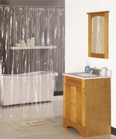 Homebasix SD-PCP01-C3L Shower Curtain, 70 in W x 72 in L x 0.06 mm T, Vinyl, Clear