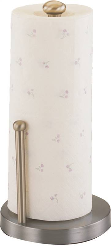 Homebasix L1070-26-02-M Paper? Towel Holder 13-1/2 in H, Solid Brass Pole, Stainless Steel Base, Satin Nickel