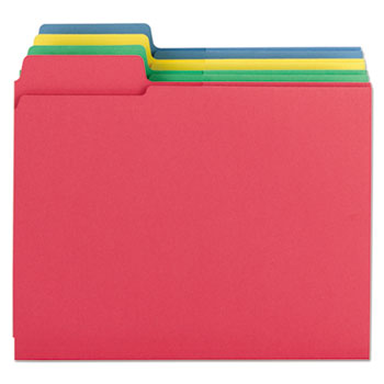 3-in-1 SuperTab Section Folders, 1/3 Cut Top Tab, Letter, Assorted, 12/Pack