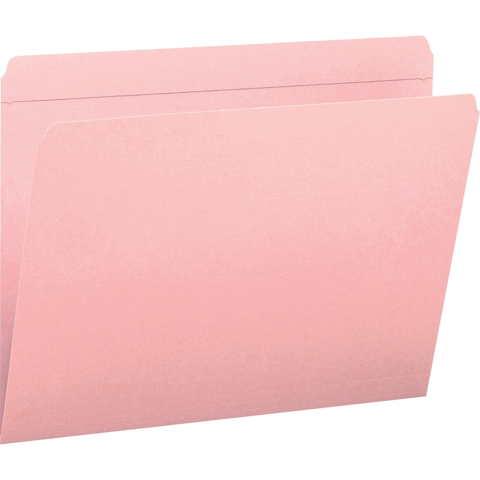 File Folders, Straight Cut, Reinforced Top Tab, Letter, Pink, 100/Box