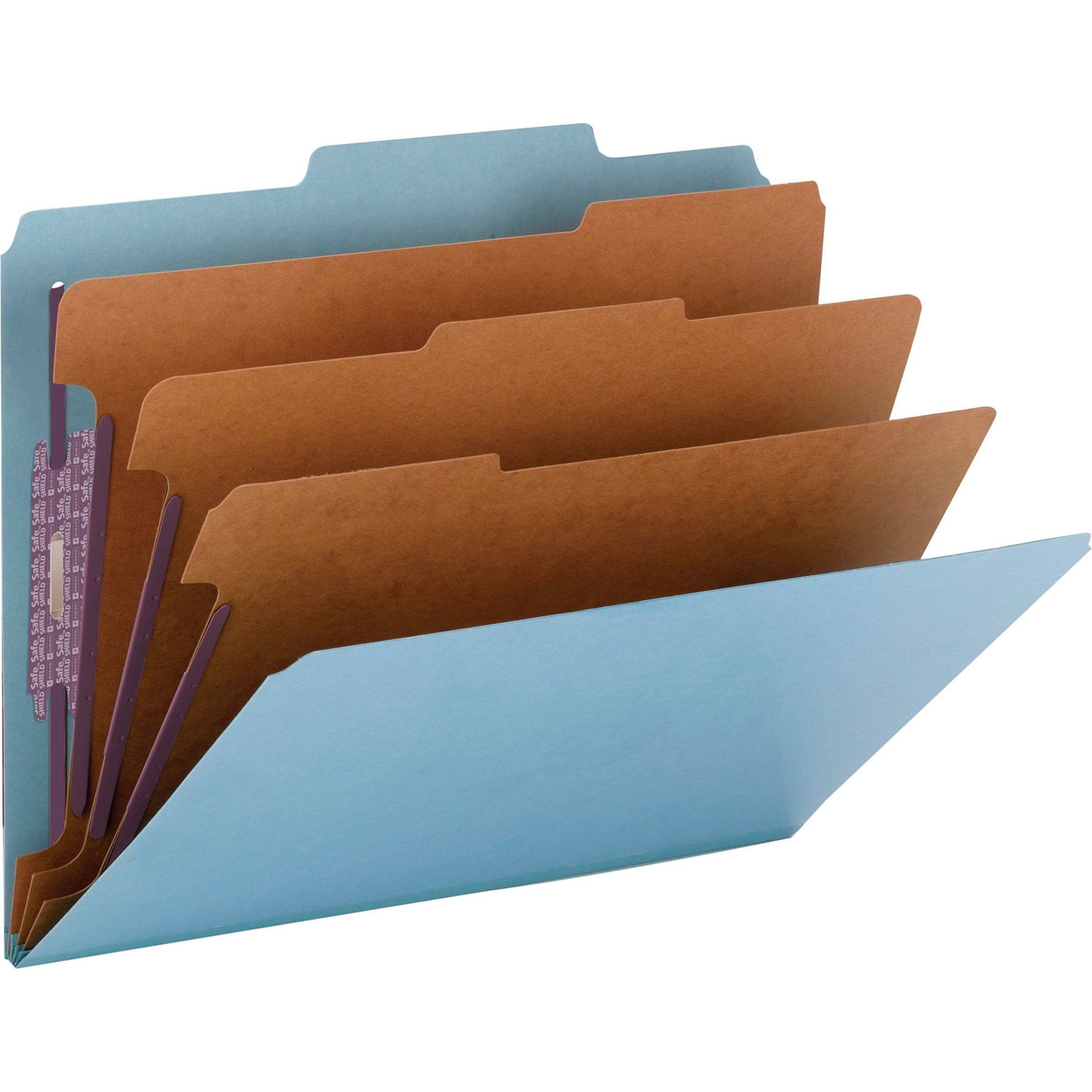 "3"" Expansion Classification Folder, 2/5 Tab, Letter, Eight-Section, Blue, 10/Box"