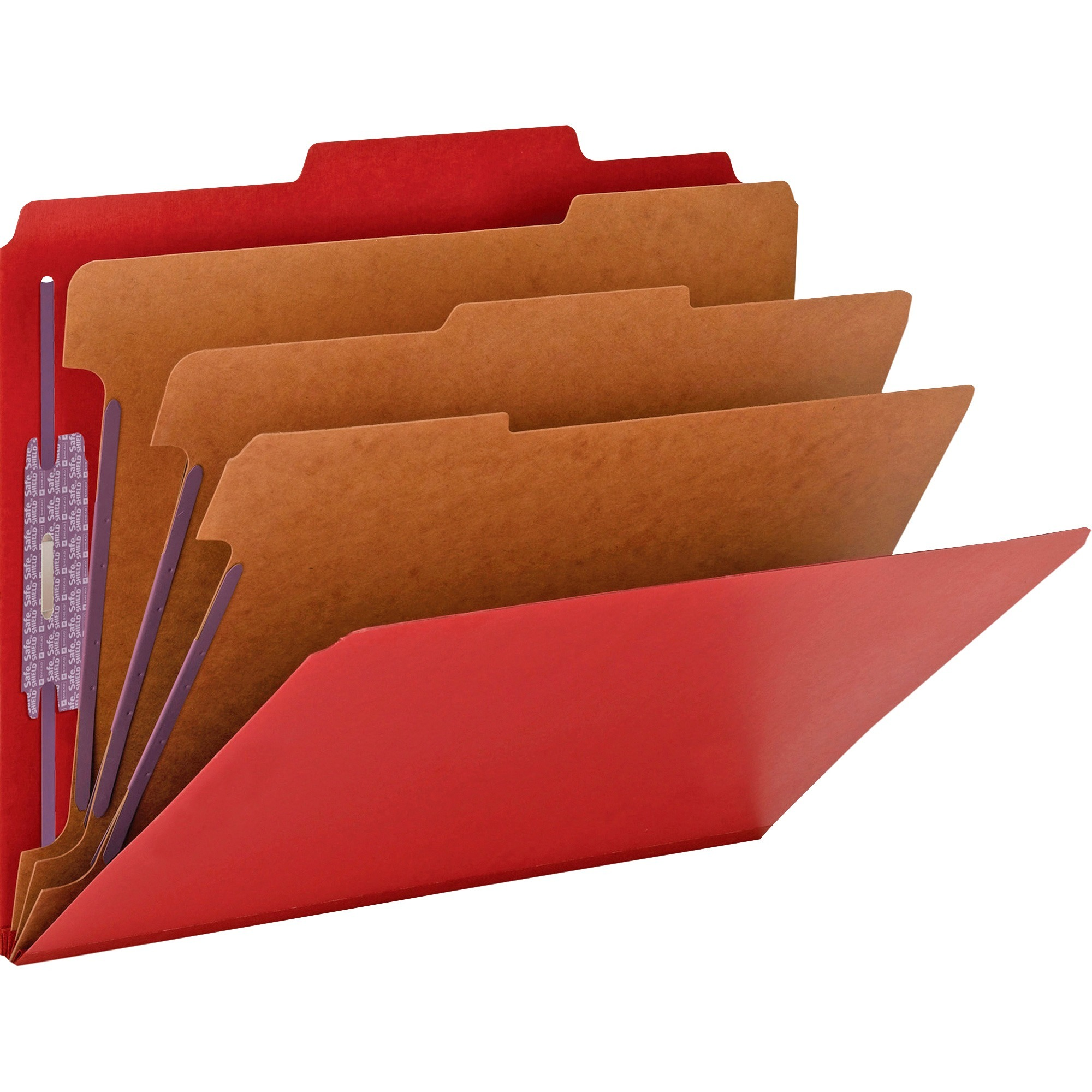 "3"" Expansion Folders with 2/5 Cut Tab, Letter, Eight-Section, Bright Red, 10/Box"